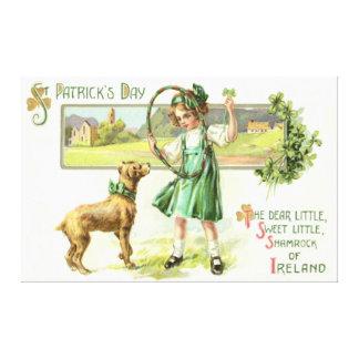 Girl Shamrock Four Leaf Clover Dog Hoop Canvas Print