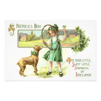 Girl Shamrock Four Leaf Clover Dog Hoop Photographic Print