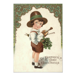 Girl Shamrock Violin St Patrick's Day 13 Cm X 18 Cm Invitation Card