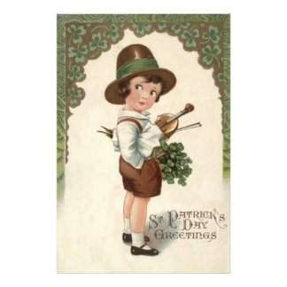 Girl Shamrock Violin St Patrick's Day Photographic Print