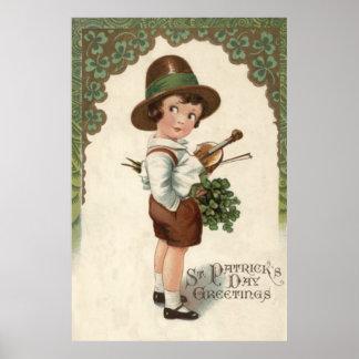 Girl Shamrock Violin St Patrick's Day Poster