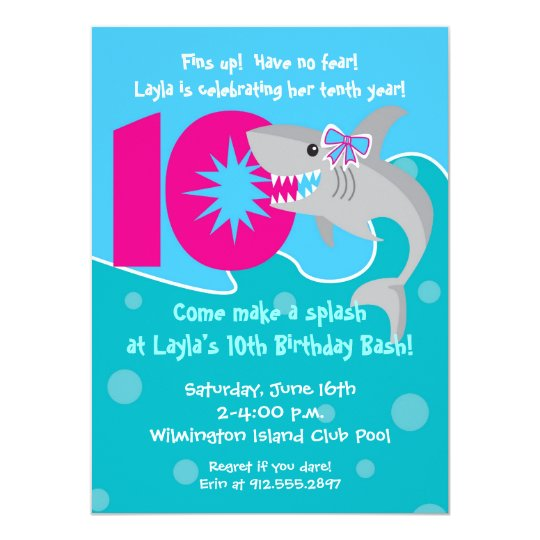 Girl Shark Bite Invite- 10th Birthday Party Card