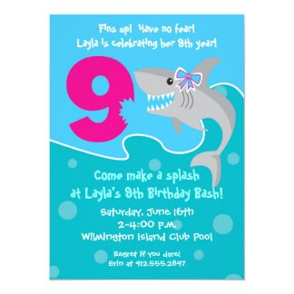 Girl Shark Bite Invite- 9th Birthday Party Card