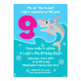 Girl Shark Bite Invite- 9th Birthday Party 14 Cm X 19 Cm Invitation Card