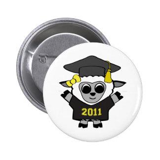 Girl Sheep Black & Gold 2011 Grad 6 Cm Round Badge