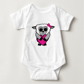 Girl Sheep with Big Heart Tee Shirts