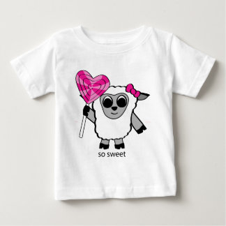Girl Sheep with Heart Lollipop Baby T-Shirt