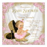 Girl Shoe Pink Gold Glitter Pearl Baby Shower 13 Cm X 13 Cm Square Invitation Card