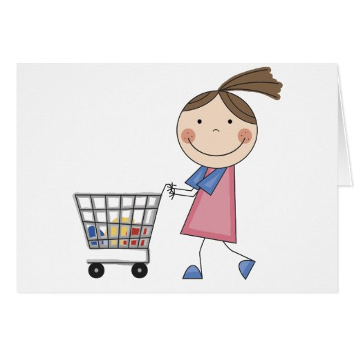 Girl Shopping T-shirts and Gifts Card
