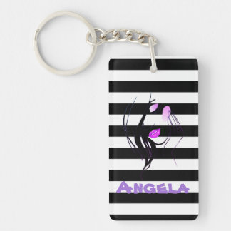 Girl Silhouette, Black, White Stripes Personalized Double-Sided Rectangular Acrylic Key Ring