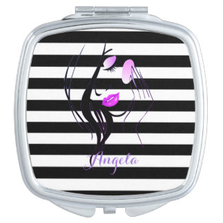 Girl Silhouette, Black, White Stripes Personalized Makeup Mirrors