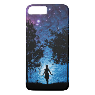 Girl silhouette in moonlight beautiful scenery iPhone 7 plus case