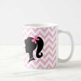 Girl Silhouette Pink White Chevron Striped Mug