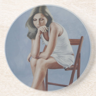 Girl Sitting Beverage Coaster