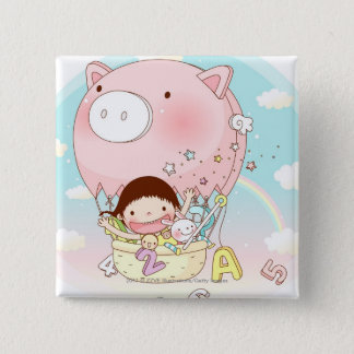 Girl sitting in hot air balloon, smiling 15 cm square badge