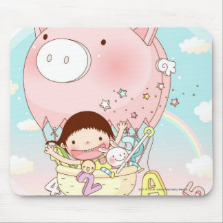 Girl sitting in hot air balloon, smiling mouse pad