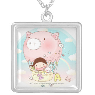 Girl sitting in hot air balloon, smiling silver plated necklace