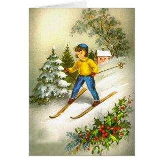 Girl ski-ing card