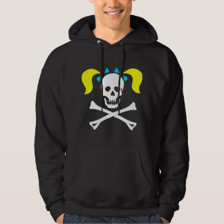 Girl Skull & Crossbones With Pigtails Dark Woman Hoodie
