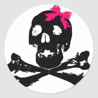 Girl Skull with Pink Bow Sticker