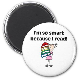 Girl Smart Because I Read Refrigerator Magnets