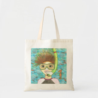 Girl Snorkeling tote and beach bag Budget Tote Bag