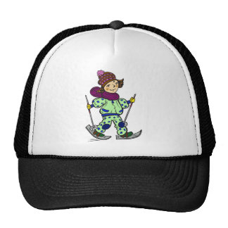 Girl Snow Skiing 2 Trucker Hats