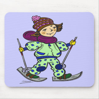 Girl Snow Skiing 2 Mouse Pads