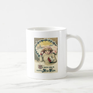 Girl Snowball Snow Holly Wreath Basic White Mug
