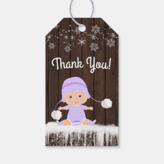 Girl Snowflake Baby Shower Favor Gift Tags