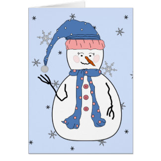 Girl Snowman, Snowing Snow Whimsical Primitive Art Card