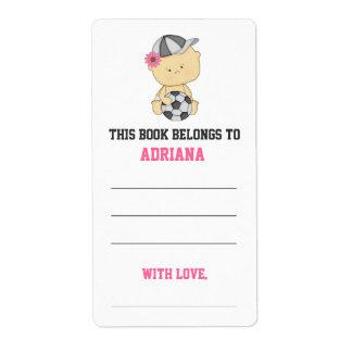 Girl Soccer Baby Shower Bookplate - Pink