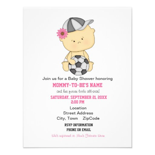 Girl Soccer Baby Shower Invitation - Pink