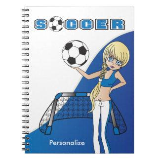 Girl Soccer Game - Blue Notebook