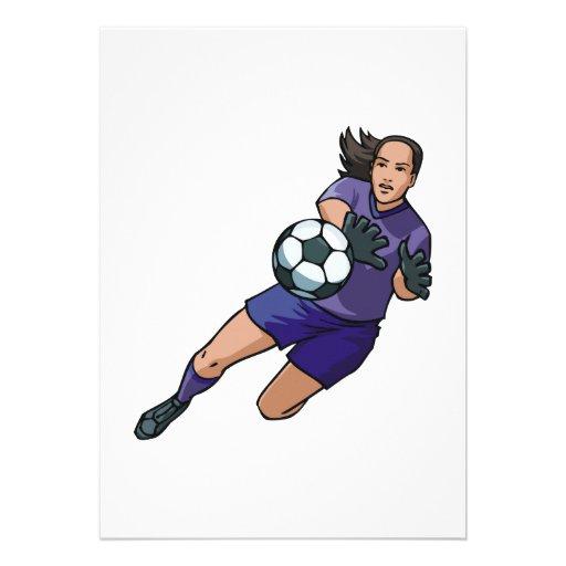 girl soccer goalie graphic personalized invite