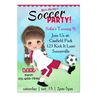 Girl Soccer Party 5x7 Paper Invitation Card