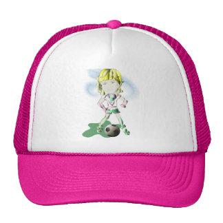 Girl Soccer Player Art Cap