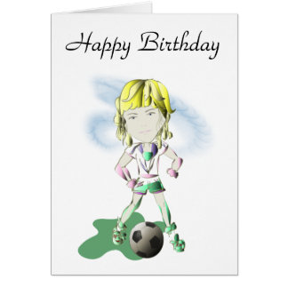 Girl Soccer Player Art Greeting Card