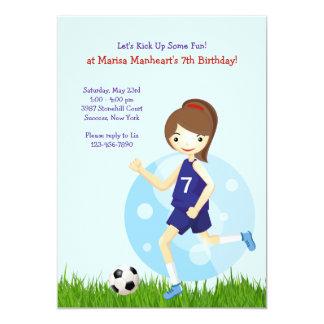 Girl Soccer Player Birthday Party Invitation