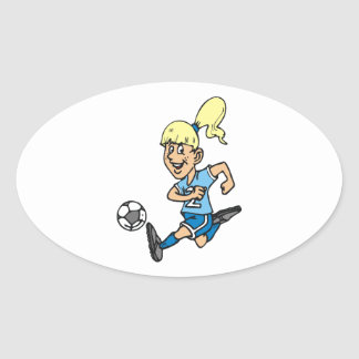 girl soccer player graphic oval sticker