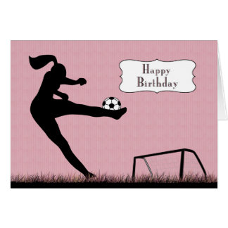 Girl Soccer Player Kicking a Ball for Birthday Greeting Card