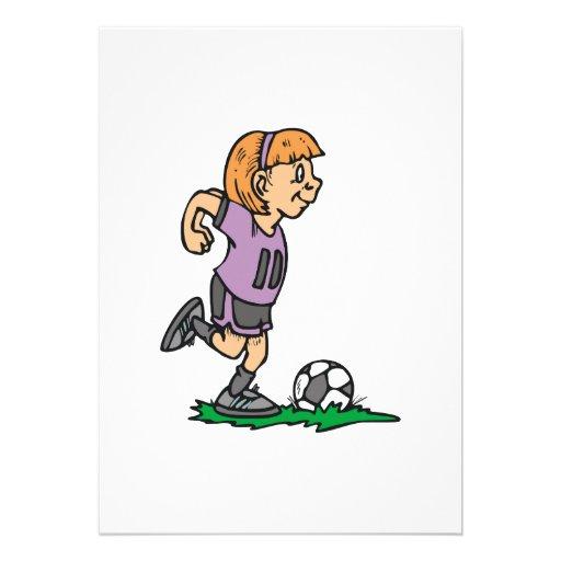 girl soccer player ready to kick custom announcement