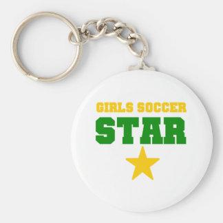 Girl Soccer Star Basic Round Button Key Ring