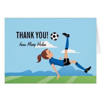 Girl Soccer Themed Thank You Card