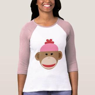 girl sock monkey 3/4 sleeve women's shirt