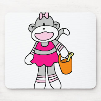 Girl Sock Monkey at Beach Mouse Pad