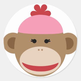 girl sock monkey classic round sticker