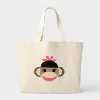 girl sock monkey large tote bag