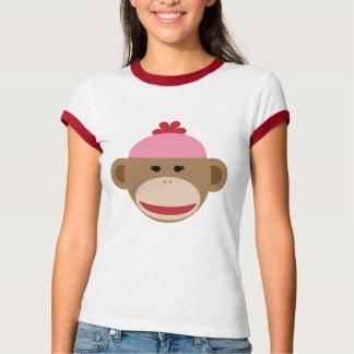 girl sock monkey women's ringer t-shirt