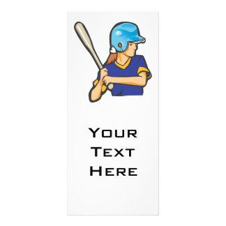 girl softball baseball player graphic full color rack card